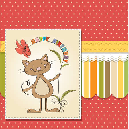 give thanks to: birthday greeting card with cat Illustration