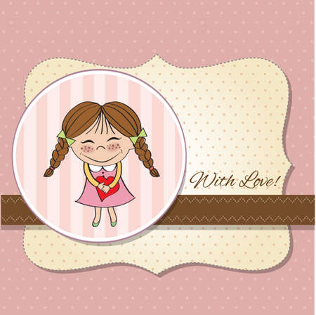 ecard: Funny girl with hearts  Doodle cartoon character  Vector Illustration   Illustration