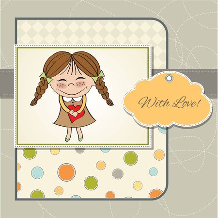 Funny girl with hearts  Doodle cartoon character  Vector Illustration Stock Vector - 13270398