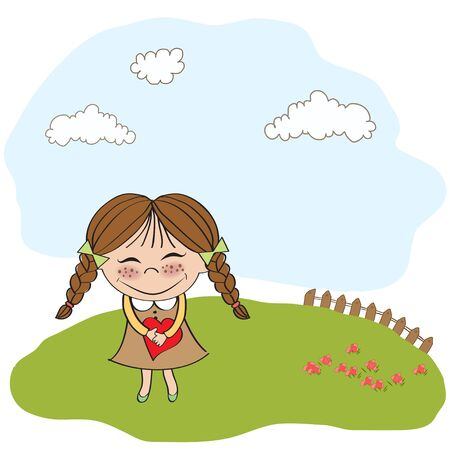 Funny girl with hearts  Doodle cartoon character  Vector Illustration Stock Vector - 13270384