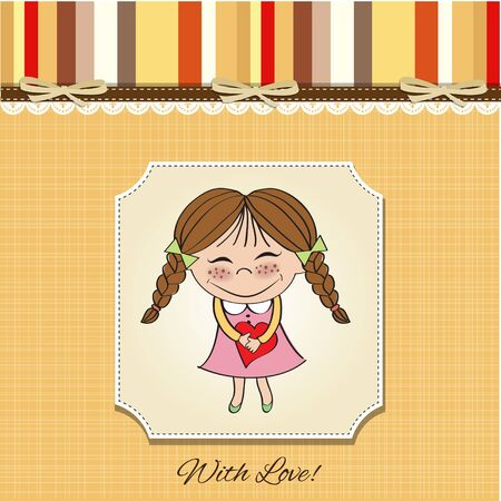 sketch child: Funny girl with hearts  Doodle cartoon character  Vector Illustration   Illustration