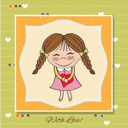 Funny girl with hearts  Doodle cartoon character  Vector Illustration Stock Vector - 13270386