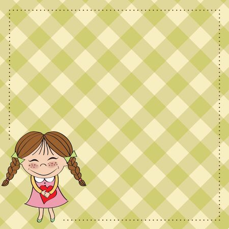 Funny girl with hearts  Doodle cartoon character  Vector Illustration Stock Vector - 13270379
