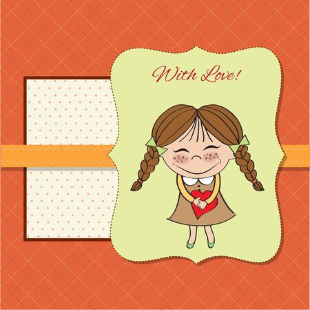 Funny girl with hearts  Doodle cartoon character  Vector Illustration   Vector