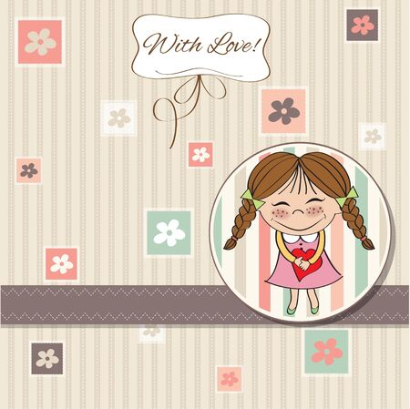 little girl dress: Funny girl with hearts  Doodle cartoon character  Vector Illustration   Illustration