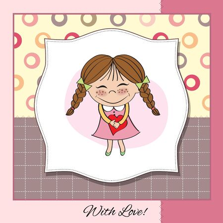 Funny girl with hearts  Doodle cartoon character  Vector Illustration Stock Vector - 13267206