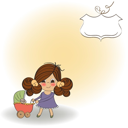 Young lady and pram Stock Vector - 13270425