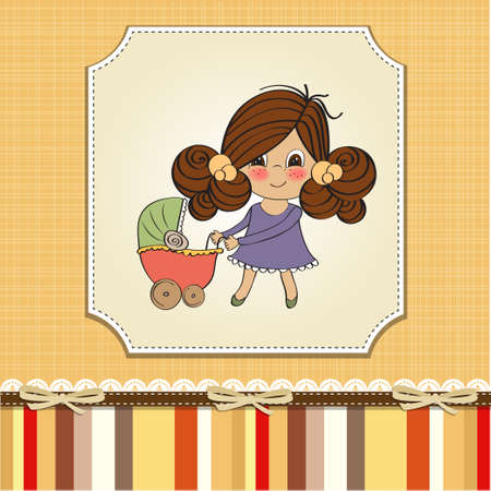 Young lady and pram Vector