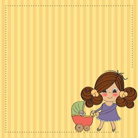Young lady and pram Stock Vector - 13270380