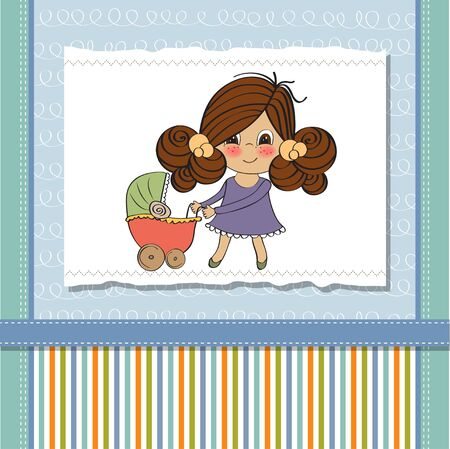 Young lady and pram Stock Vector - 13270392