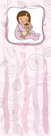baby girl: baby girl shower card Illustration