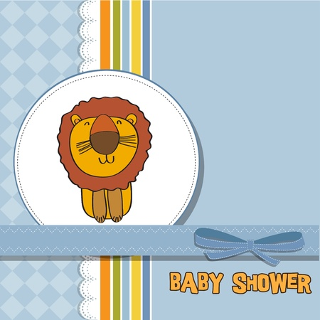 baby shower card with cartoon lion Vector