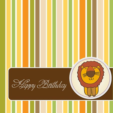 greeting card with cartoon lion Vector