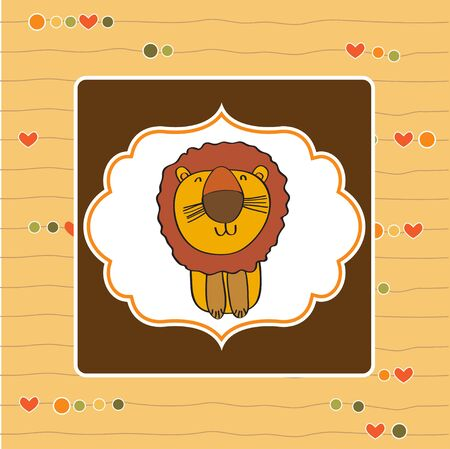 greeting card with cartoon lion Stock Vector - 13319984