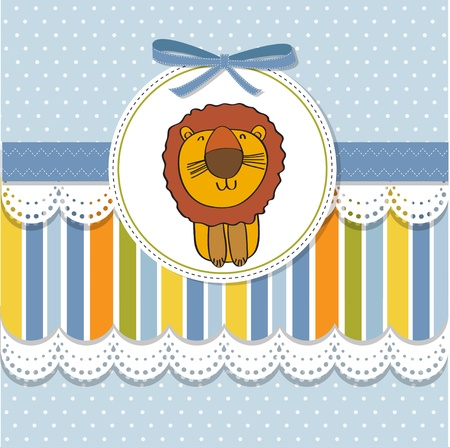greeting card with cartoon lion Stock Vector - 13319996