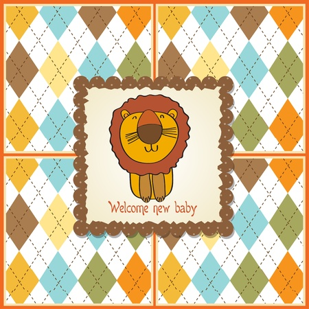 baby shower card with cartoon lion Stock Vector - 13319995