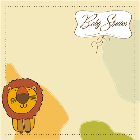 baby shower card with cartoon lion