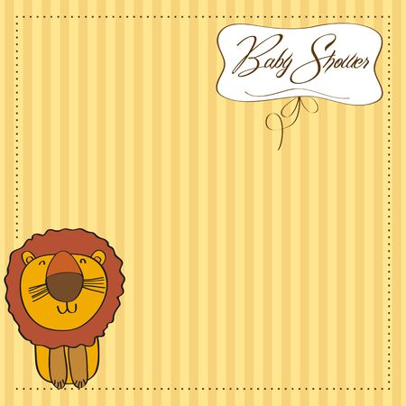 baby shower card with cartoon lion Stock Vector - 13319982