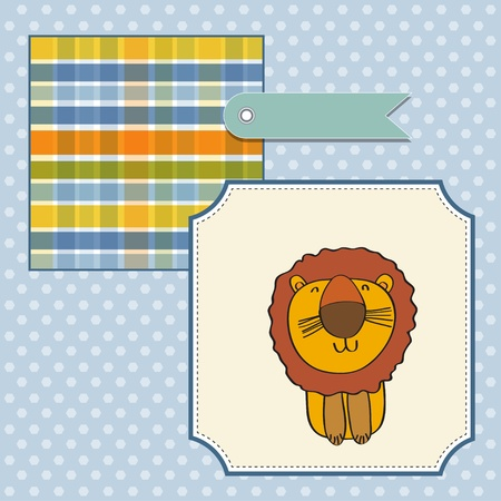 greeting card with cartoon lion Stock Vector - 13319987