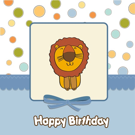greeting card with cartoon lion Stock Vector - 13319990