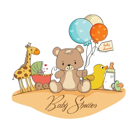 baby shower card with toys Stock Vector - 13317539