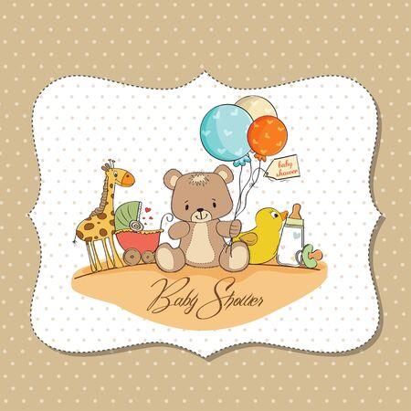 Tarjeta de Baby Shower con los juguetes
