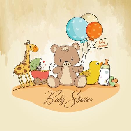 teddy bear: carte de douche de b�b� avec des jouets