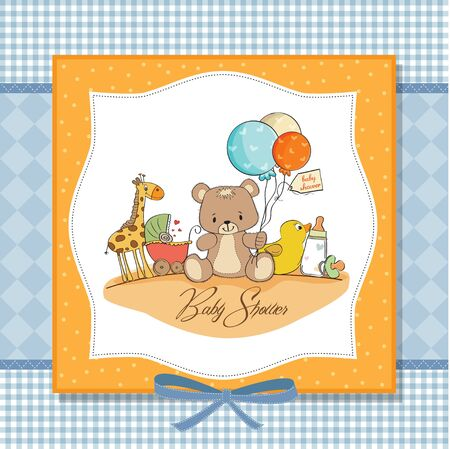 baby shower card with toys Stock Vector - 13317552