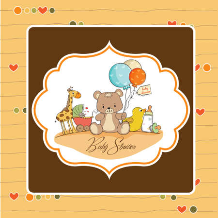baby shower card with toys Stock Vector - 13317553