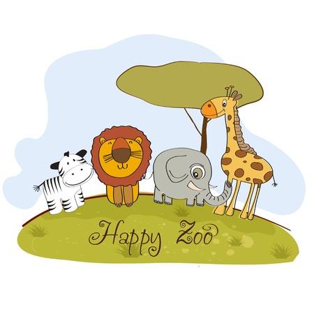 happy zoo Stock Vector - 13423226