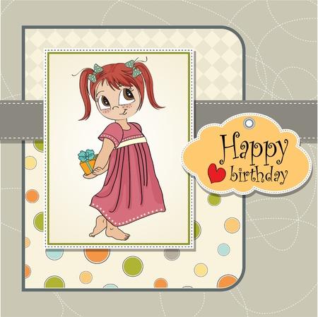 funny girl she hides a little gift Illustration