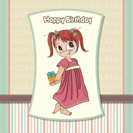 funny girl she hides a little gift Stock Vector - 13423295