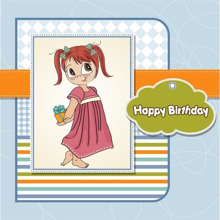shyness: funny girl she hides a little gift Illustration