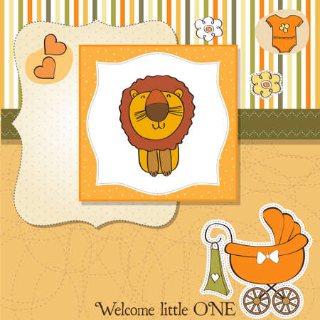 childish baby shower card with cartoon lion Stock Vector - 13543049