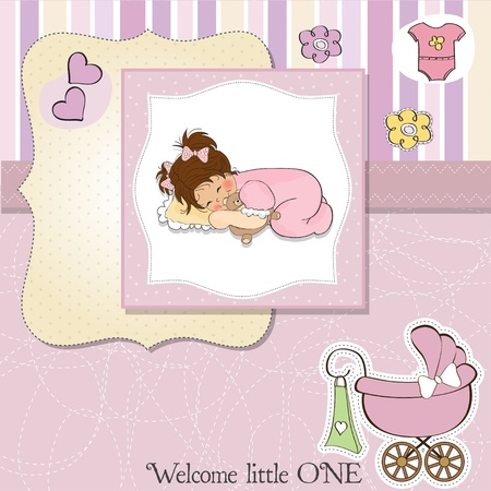 new baby girl shower card Stock Vector - 13498777