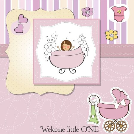 new baby girl shower card Stock Vector - 13498756