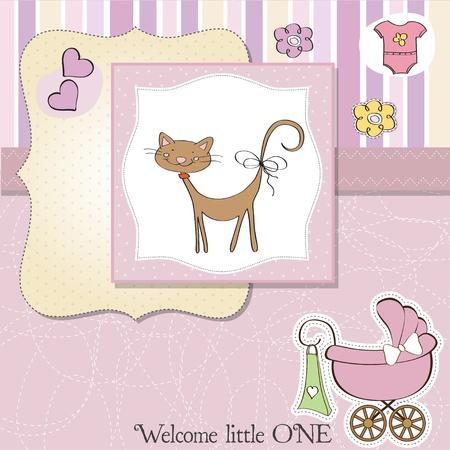 new baby girl shower card Stock Vector - 13498758