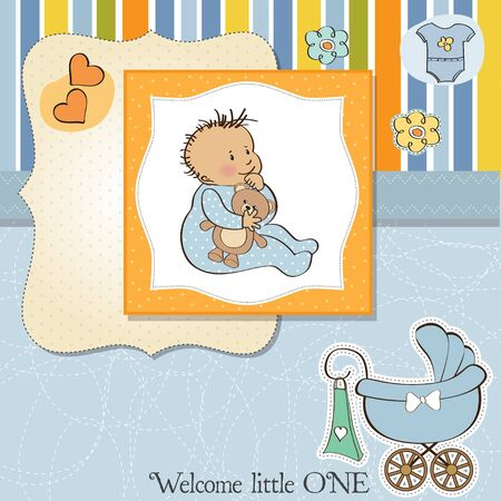 new baby boy shower card Stock Vector - 13498763