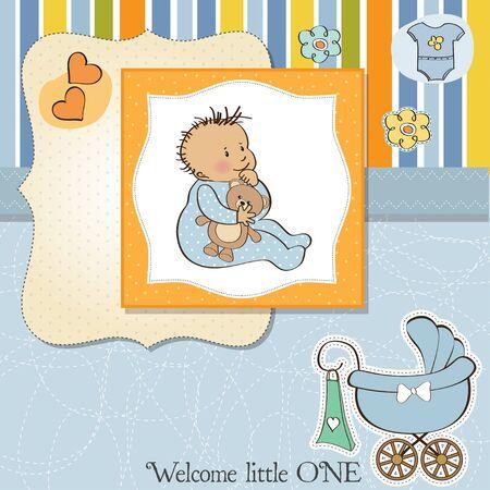 new baby boy shower card Stock Vector - 13498763