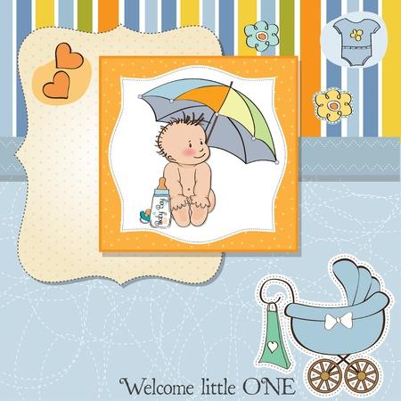 vintage baby: new baby boy shower card Illustration