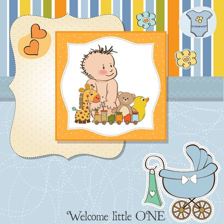 specifically: new baby boy shower card Illustration