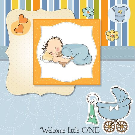new baby boy shower card Stock Vector - 13498759