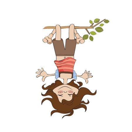 hanging girl: amused young girl standing with her head hanging down  Illustration