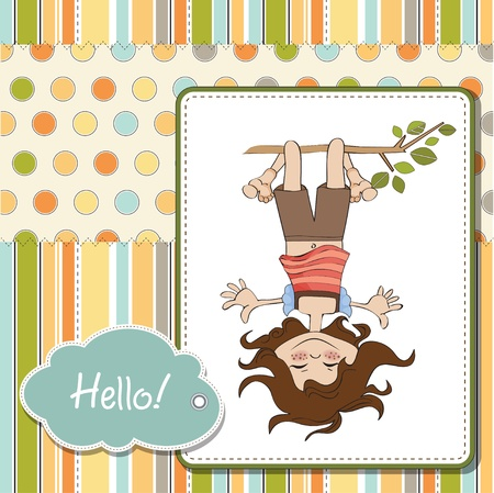 amused: amused young girl standing with her head hanging down  Illustration