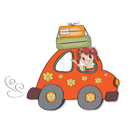 amused young woman traveling on vacation by car Illustration