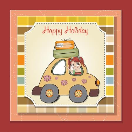 mujer con maleta: mujer joven divertida de viajar de vacaciones en coche