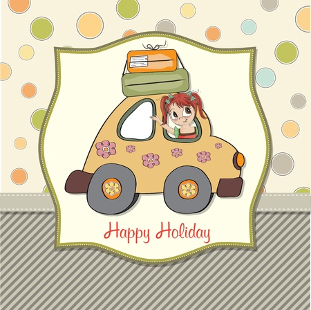 amused young woman traveling on vacation by car Stock Vector - 13498800
