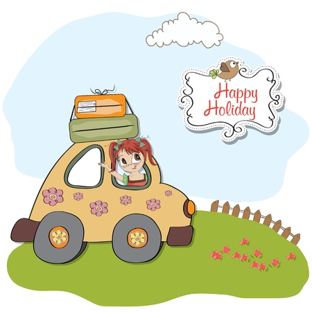 amused: amused young woman traveling on vacation by car Illustration
