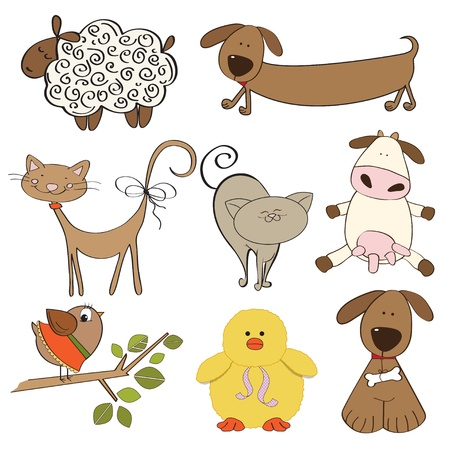 귀여움: 흰색 배경에 설정 절연 농장 동물의 그림 일러스트