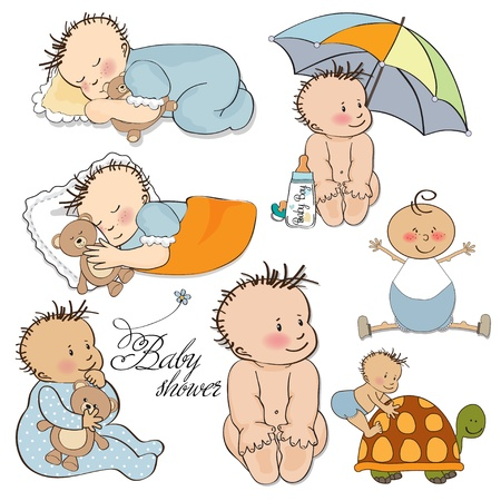 baby bear: baby boy set isolated on white background  Illustration